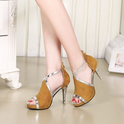 Fashion High Heel Sandals Female Summer New Suede Color Matching Stiletto Heels Waterproof Platform Back Zipper Sexy Fish Mouth