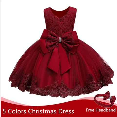 Toddler Girl Dress Christmas Dress For Girl Red Tutu Dress Baby Girl 1 Year Birthday Dress Toddler Christening Gown Girl Dresses