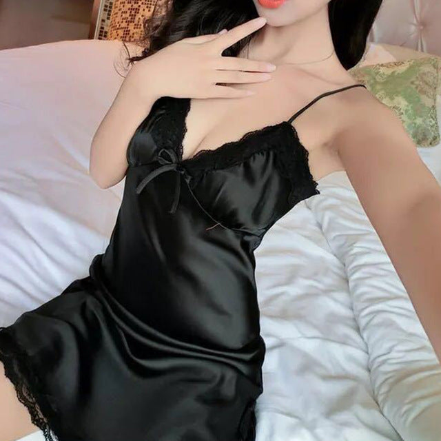 Sexy Ladies Night Dress Nuisette Silk Sleepwear Satin Nightgown V-neck Slip Nighties Summer Lace Night Gown Lingerie For Women