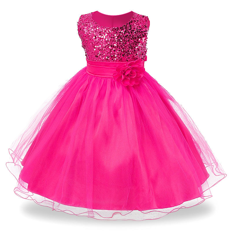 3-14yrs Hot Selling Baby Girls Flower sequins Dress High quality Party Princess Dress Children kids clothes 9colors-hipnfly-hipnfly