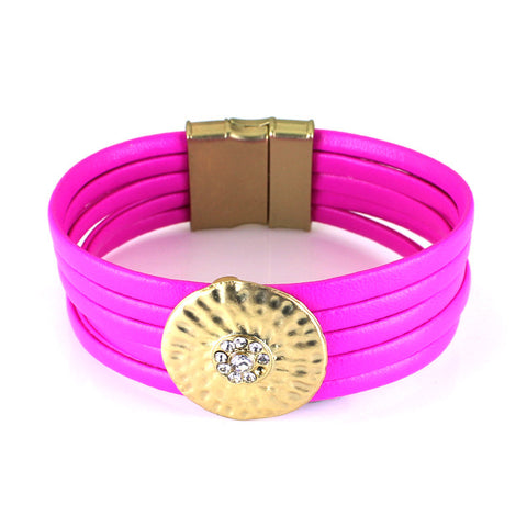 2016 Fashion Leather Bracelet Top Qualitu Multi-layer Leather Magnetic Clasp Design Bracelet New Arrival 3 Color-hipnfly-Rose red-hipnfly