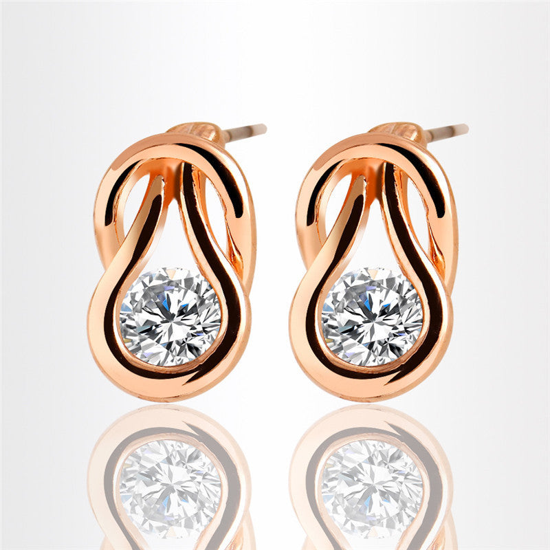 New Style AAA CZ Stud Earring Temperament Crystal Earrings for Women Wedding Party Earring 2 Colors-hipnfly-Gold color-hipnfly