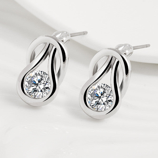 New Style AAA CZ Stud Earring Temperament Crystal Earrings for Women Wedding Party Earring 2 Colors-hipnfly-Silver color-hipnfly