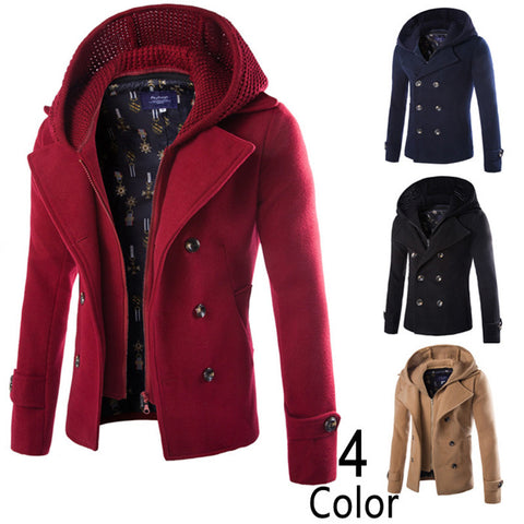 European Winter Quality Brand Fashion 2015 New Arrival Zipper Men Coat Overcoats Men Hooded Coat Solid Men's Wool Coat 4 Colors-hipnfly-hipnfly