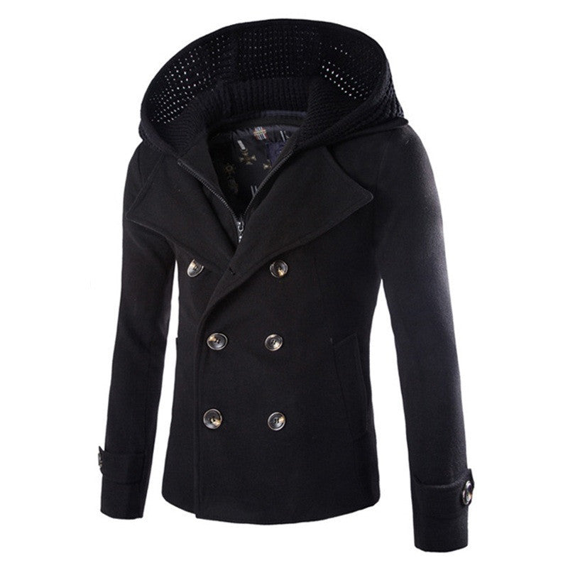 European Winter Quality Brand Fashion 2015 New Arrival Zipper Men Coat Overcoats Men Hooded Coat Solid Men's Wool Coat  4 Colors
