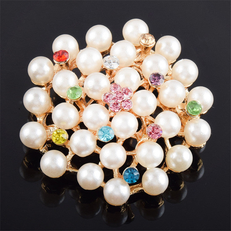 Beautiful Luxury Imitation Pearl Crystal Brooch 2016 New Fashion Round Shape Brooch for Women Gift