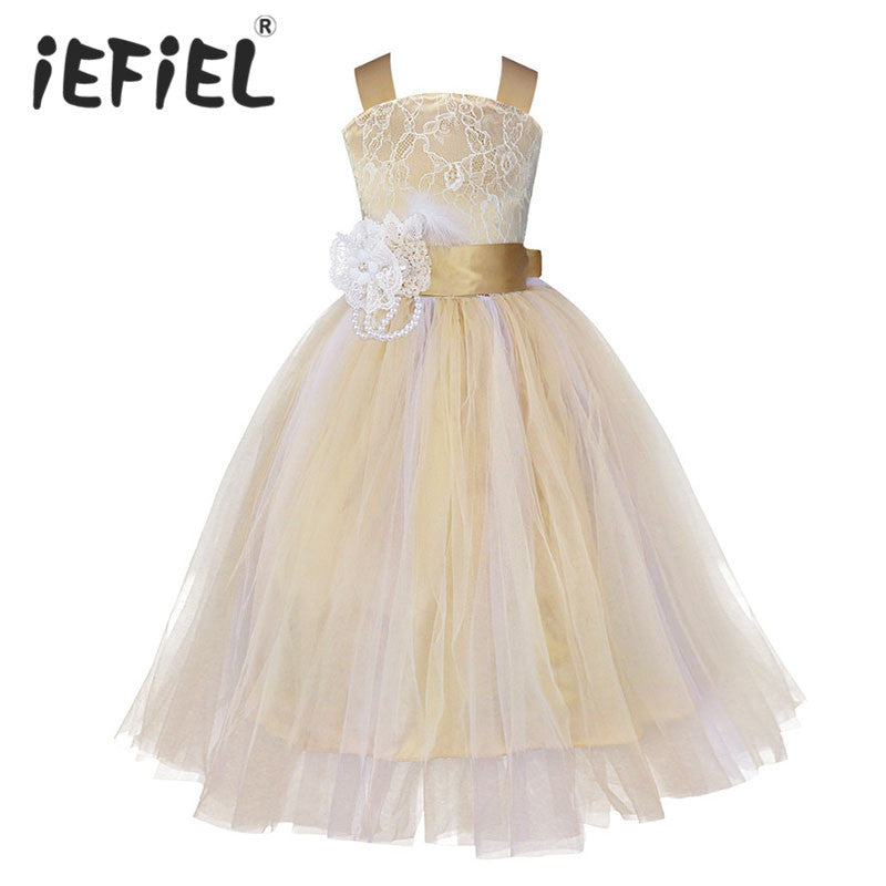 iEFiEL Kids Girls Wedding Flower Girl Dress Princess Party Pageant Formal Dress Crossed Back Sleeveless Lace Tulle Dress 2-14Y-hipnfly-hipnfly