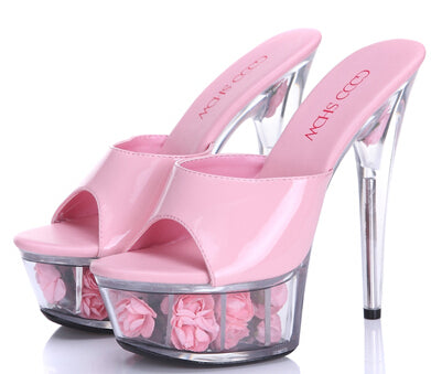 2015 Multicolor Rose Waterproof Sexy Wedding Shoes High-heeled Sandals Nightclub Sandals slippers Shoes Women Plus-size 33-43-hipnfly-hipnfly