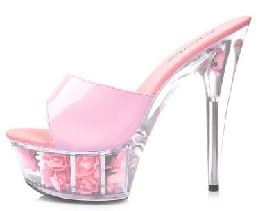2015 Multicolor Rose Waterproof Sexy Wedding Shoes High-heeled Sandals Nightclub Sandals slippers Shoes Women Plus-size 33-43-hipnfly-Pink-6-hipnfly