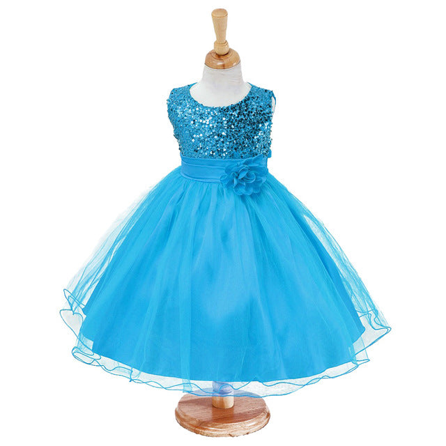 3-14yrs Hot Selling Baby Girls Flower sequins Dress High quality Party Princess Dress Children kids clothes 9colors-hipnfly-as picture 3-3T-hipnfly
