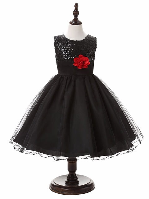 3-14yrs Hot Selling Baby Girls Flower sequins Dress High quality Party Princess Dress Children kids clothes 9colors-hipnfly-as picture 2-3T-hipnfly