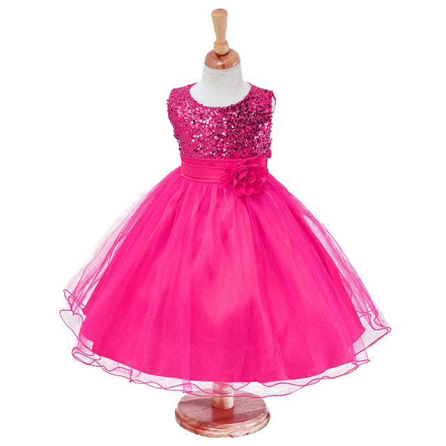 3-14yrs Hot Selling Baby Girls Flower sequins Dress High quality Party Princess Dress Children kids clothes 9colors-hipnfly-as picture 7-3T-hipnfly