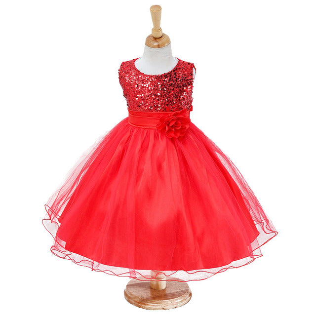 3-14yrs Hot Selling Baby Girls Flower sequins Dress High quality Party Princess Dress Children kids clothes 9colors-hipnfly-as picture 5-3T-hipnfly