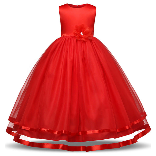 Kids Girls Party Wear Costume For Children Summer Princess Wedding Dress Girls Ceremonies Teenagers Prom Dresses Formal Vestidos