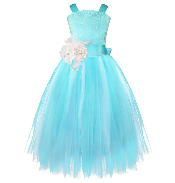 iEFiEL Kids Girls Wedding Flower Girl Dress Princess Party Pageant Formal Dress Crossed Back Sleeveless Lace Tulle Dress 2-14Y-hipnfly-Blue-2T-hipnfly