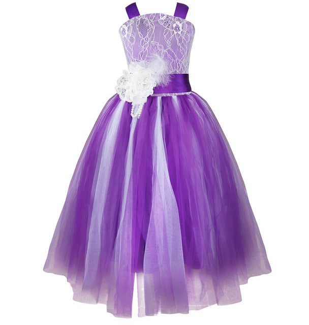 iEFiEL Kids Girls Wedding Flower Girl Dress Princess Party Pageant Formal Dress Crossed Back Sleeveless Lace Tulle Dress 2-14Y
