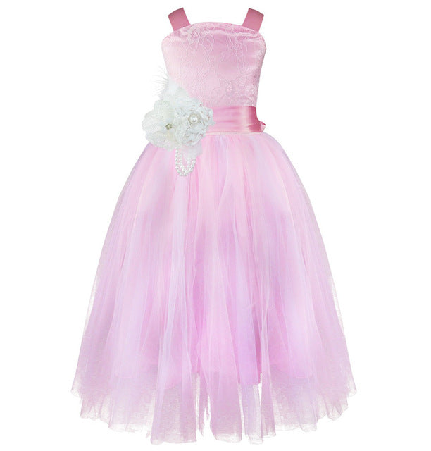 iEFiEL Kids Girls Wedding Flower Girl Dress Princess Party Pageant Formal Dress Crossed Back Sleeveless Lace Tulle Dress 2-14Y-hipnfly-pink-2T-hipnfly