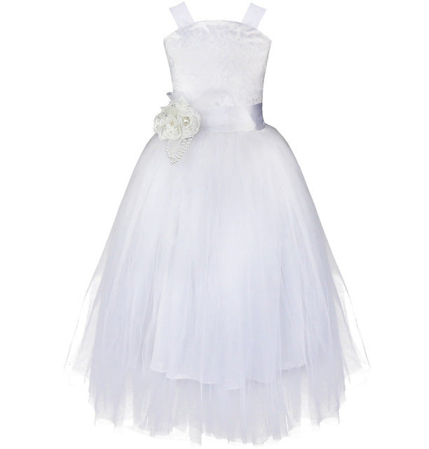 iEFiEL Kids Girls Wedding Flower Girl Dress Princess Party Pageant Formal Dress Crossed Back Sleeveless Lace Tulle Dress 2-14Y-hipnfly-white-2T-hipnfly