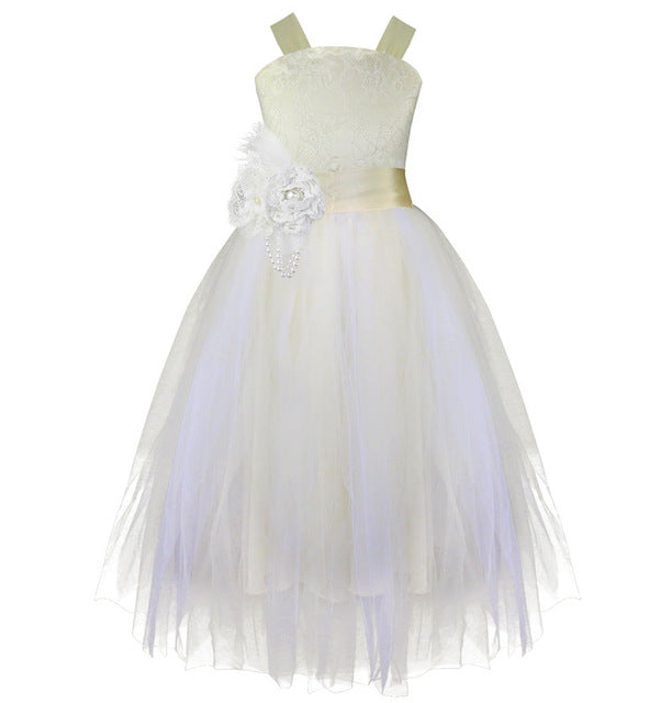 iEFiEL Kids Girls Wedding Flower Girl Dress Princess Party Pageant Formal Dress Crossed Back Sleeveless Lace Tulle Dress 2-14Y-hipnfly-Beige-2T-hipnfly