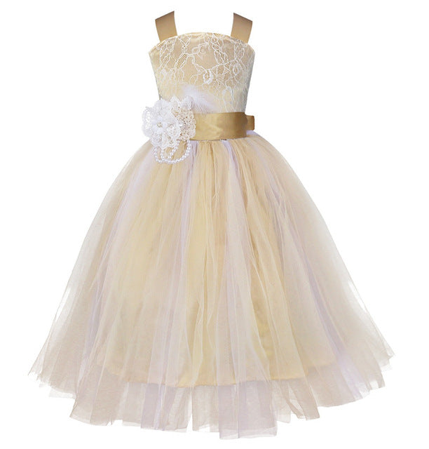 iEFiEL Kids Girls Wedding Flower Girl Dress Princess Party Pageant Formal Dress Crossed Back Sleeveless Lace Tulle Dress 2-14Y-hipnfly-Champagne-2T-hipnfly