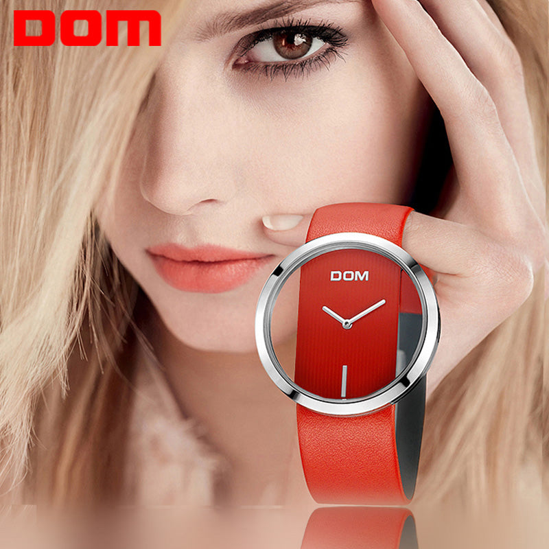 Watch Women DOM brand luxury Fashion Casual quartz Unique Stylish  Hollow skeleton  watches leather sport Lady wristwatches 205L