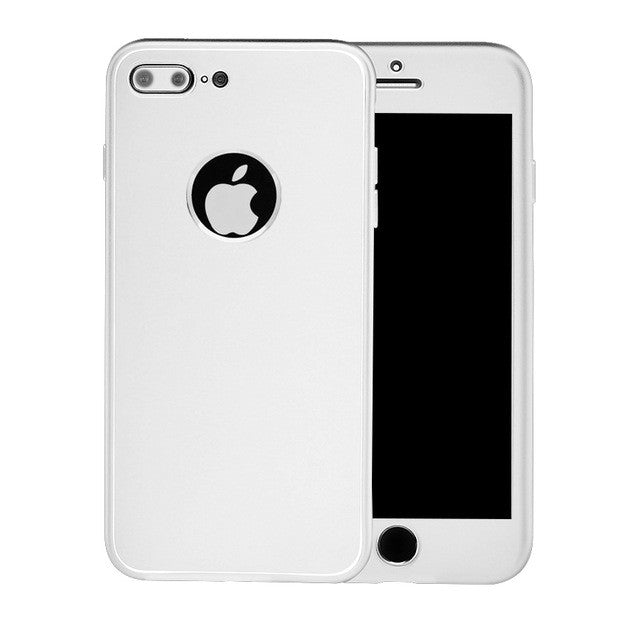 2 in 1 360 Full Body Phone Cases For iphone 7 7 Plus Funda Luxury Soft TPU Gel Silicone Rubber Protective Cover Back Cover Coque-hipnfly-White For i7 Plus-hipnfly