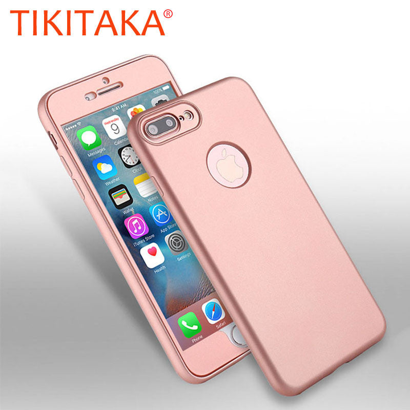 the latest b086d 40a91 2 in 1 360 Full Body Phone Cases For iphone 7 6 6s Plus Coque Luxury Front  PC+ Soft TPU Silicon Rubber Back Cover Protect Shell