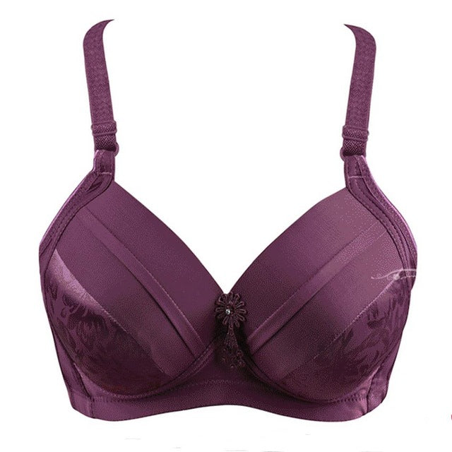 Women Sexy brassiere 80 85 90 95 100 B C D big size Red Black Blue underwear Super Push Up Intimates Female Bra Tops lingerie-hipnfly-purple-B-40 equivalent 90-hipnfly
