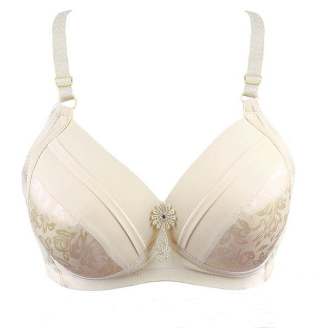 Women Sexy brassiere 80 85 90 95 100 B C D big size Red Black Blue underwear Super Push Up Intimates Female Bra Tops lingerie-hipnfly-beige-B-40 equivalent 90-hipnfly