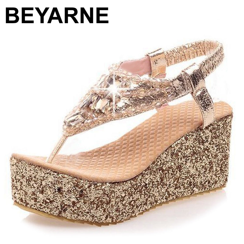 BEYARNE Hot Sale summer thick high heel summer sandals women sexy fashion platform lady buckle wedge shoes