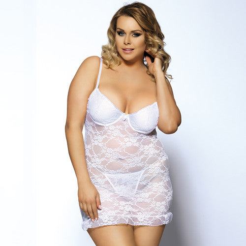 RI7335 Hot Sale Sex Strapless Sleepwear Many Color Babydoll Lingerie Sexy Big Size Erotic Dress Ropa Interior Mujer Sexy Erotica-hipnfly-White-M-hipnfly