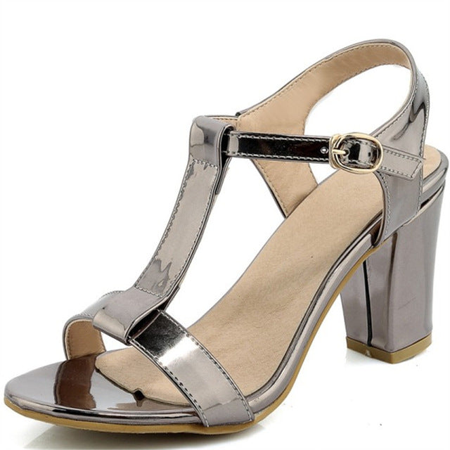 Plus Size 34-44 Summer Patent Leather Women Sandals Fashion Square High Heels Ladies Pumps Sexy Party Dress Shoes Woman Sandals-summer high heels-hipnfly-as photo 2-11-hipnfly