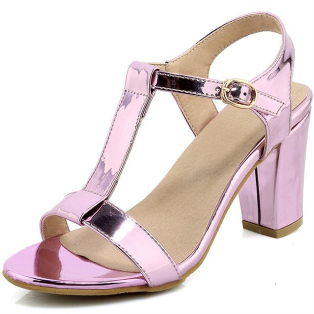 Plus Size 34-44 Summer Patent Leather Women Sandals Fashion Square High Heels Ladies Pumps Sexy Party Dress Shoes Woman Sandals-summer high heels-hipnfly-as photo 1-11-hipnfly
