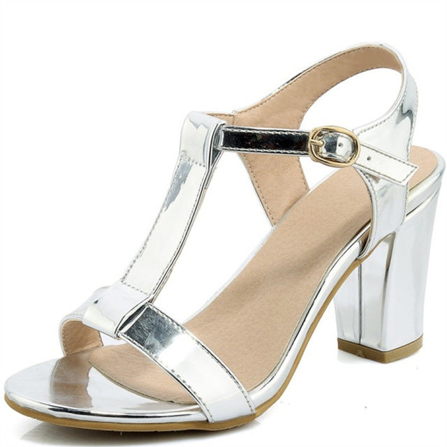 Plus Size 34-44 Summer Patent Leather Women Sandals Fashion Square High Heels Ladies Pumps Sexy Party Dress Shoes Woman Sandals-summer high heels-hipnfly-as photo-11-hipnfly