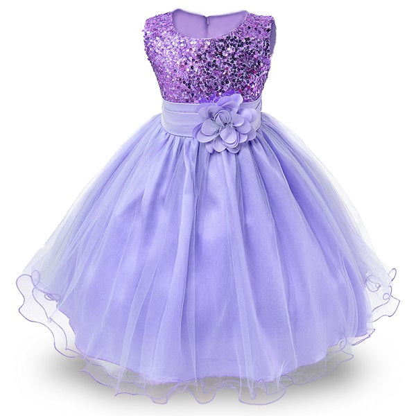 3-14yrs Hot Selling Baby Girls Flower sequins Dress High quality Party Princess Dress Children kids clothes 9colors-hipnfly-as picture 8-3T-hipnfly
