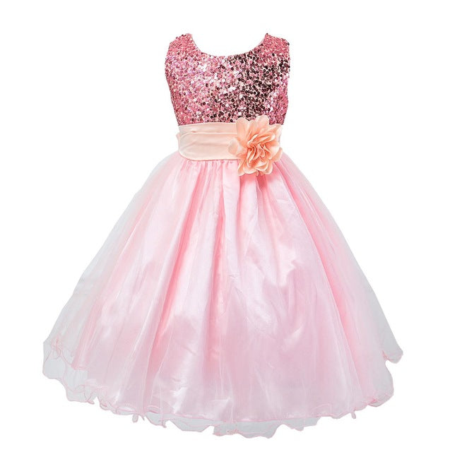 2-14yrs Teenage Clothing Christmas Girl Dress Summer Princess Wedding Party dress sequins Sleeveless New Year For Girls Clothes-hipnfly-as picture 3-3T-hipnfly