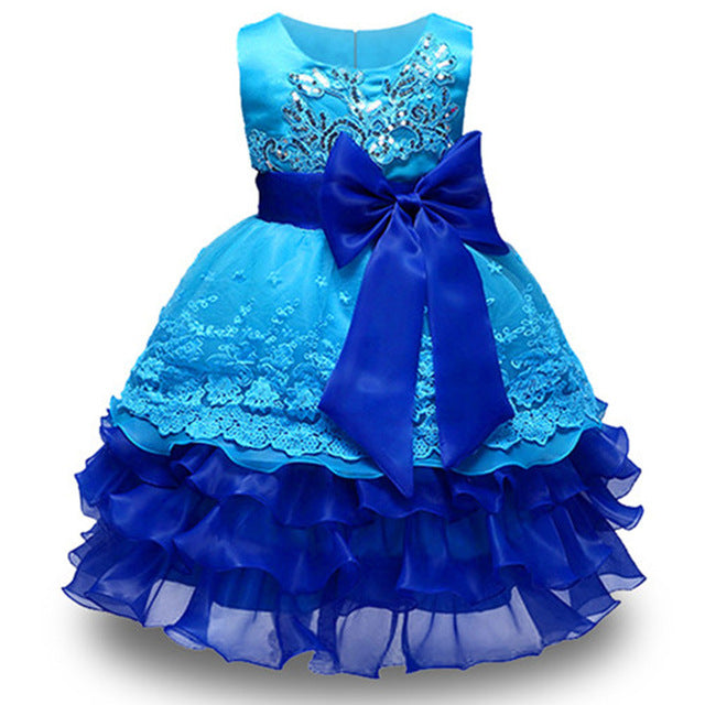 Summer Flower Girl Dress Ball gowns Kids Dresses For Girls Party Princess Girl Clothes For 3 4 5 6 7 8 Year Birthday Dress-hipnfly-blue-3T-hipnfly