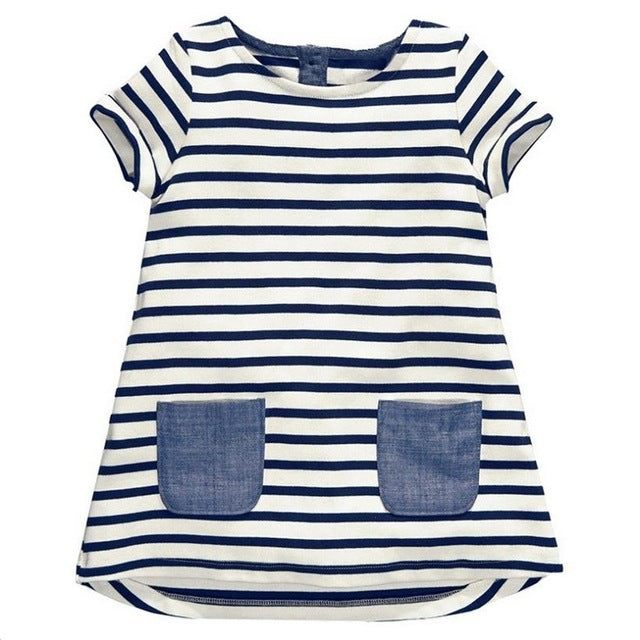 TANGUOANT Hot Sale 1-8 Years Girls Short Sleeve Blue Stripe Summer Dress Cotton Casual Dresses Kids Clothing