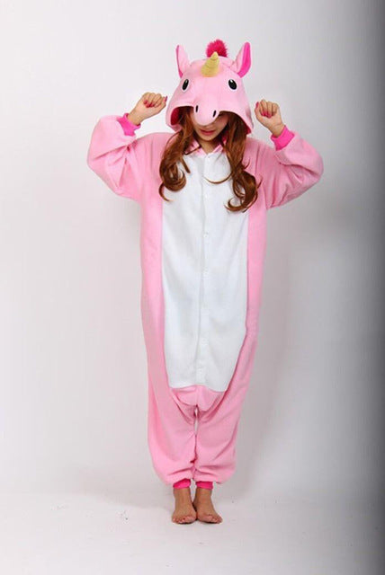 Winter Unisex Adult Men Women Pajamas Costumes Animal Onesie Sleepwear Stitch Zebra Panda Totoro Bear Bat Unicorn Pig Dinosaur-hipnfly-Pink Tenma-S-hipnfly