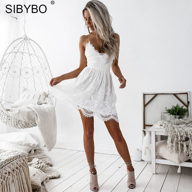 Sibybo Backless Spaghetti Strap Sexy Lace Dress Women Sleeveless V-Neck Loose Summer Dress Cotton Black Elegant Party Dresses-hipnfly-White-L-hipnfly