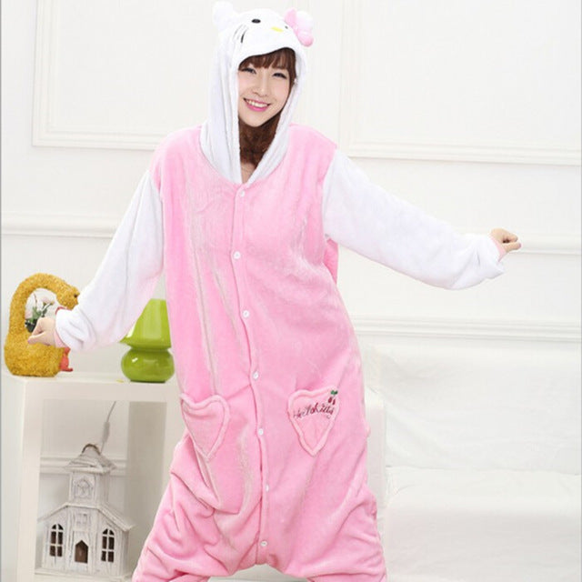 Winter Unisex Adult Men Women Pajamas Costumes Animal Onesie Sleepwear Stitch Zebra Panda Totoro Bear Bat Unicorn Pig Dinosaur-hipnfly-white sleeve kitty-S-hipnfly