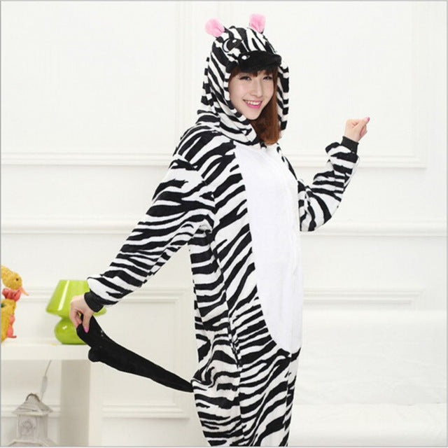 Winter Unisex Adult Men Women Pajamas Costumes Animal Onesie Sleepwear Stitch Zebra Panda Totoro Bear Bat Unicorn Pig Dinosaur-hipnfly-zebra-S-hipnfly