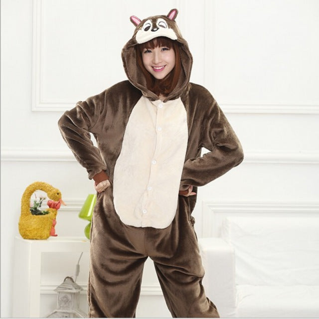 Winter Unisex Adult Men Women Pajamas Costumes Animal Onesie Sleepwear Stitch Zebra Panda Totoro Bear Bat Unicorn Pig Dinosaur-hipnfly-chipmunk-S-hipnfly
