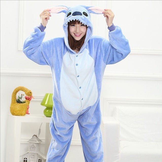 Winter Unisex Adult Men Women Pajamas Costumes Animal Onesie Sleepwear Stitch Zebra Panda Totoro Bear Bat Unicorn Pig Dinosaur-hipnfly-blue stitch-S-hipnfly