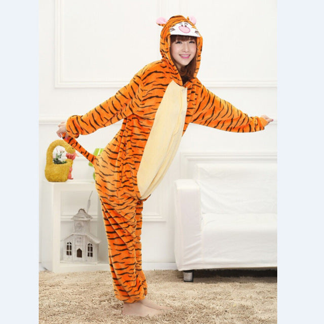 Winter Unisex Adult Men Women Pajamas Costumes Animal Onesie Sleepwear Stitch Zebra Panda Totoro Bear Bat Unicorn Pig Dinosaur-hipnfly-tigger-S-hipnfly