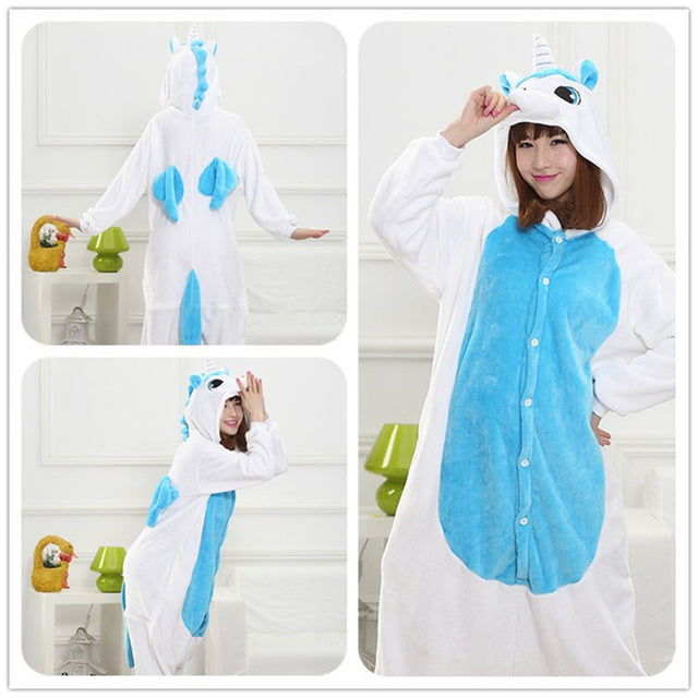 Winter Unisex Adult Men Women Pajamas Costumes Animal Onesie Sleepwear Stitch Zebra Panda Totoro Bear Bat Unicorn Pig Dinosaur-hipnfly-blue unicorn-S-hipnfly