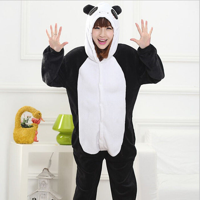 Winter Unisex Adult Men Women Pajamas Costumes Animal Onesie Sleepwear Stitch Zebra Panda Totoro Bear Bat Unicorn Pig Dinosaur-hipnfly-panda-S-hipnfly
