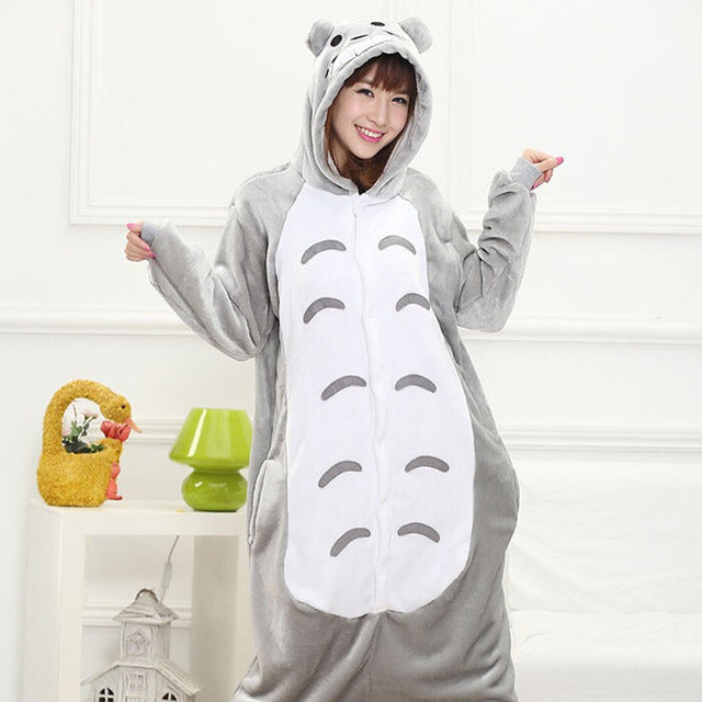 Winter Unisex Adult Men Women Pajamas Costumes Animal Onesie Sleepwear Stitch Zebra Panda Totoro Bear Bat Unicorn Pig Dinosaur-hipnfly-totoro-S-hipnfly