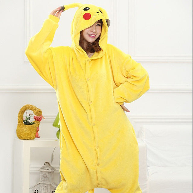 Winter Unisex Adult Men Women Pajamas Costumes Animal Onesie Sleepwear Stitch Zebra Panda Totoro Bear Bat Unicorn Pig Dinosaur-hipnfly-pikachu-S-hipnfly