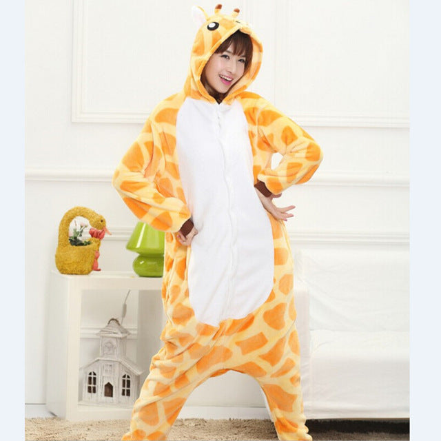 Winter Unisex Adult Men Women Pajamas Costumes Animal Onesie Sleepwear Stitch Zebra Panda Totoro Bear Bat Unicorn Pig Dinosaur-hipnfly-giraffe-S-hipnfly